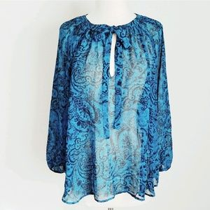 NY & Co Sheer Paisley Turquoise Blue Peasant Top